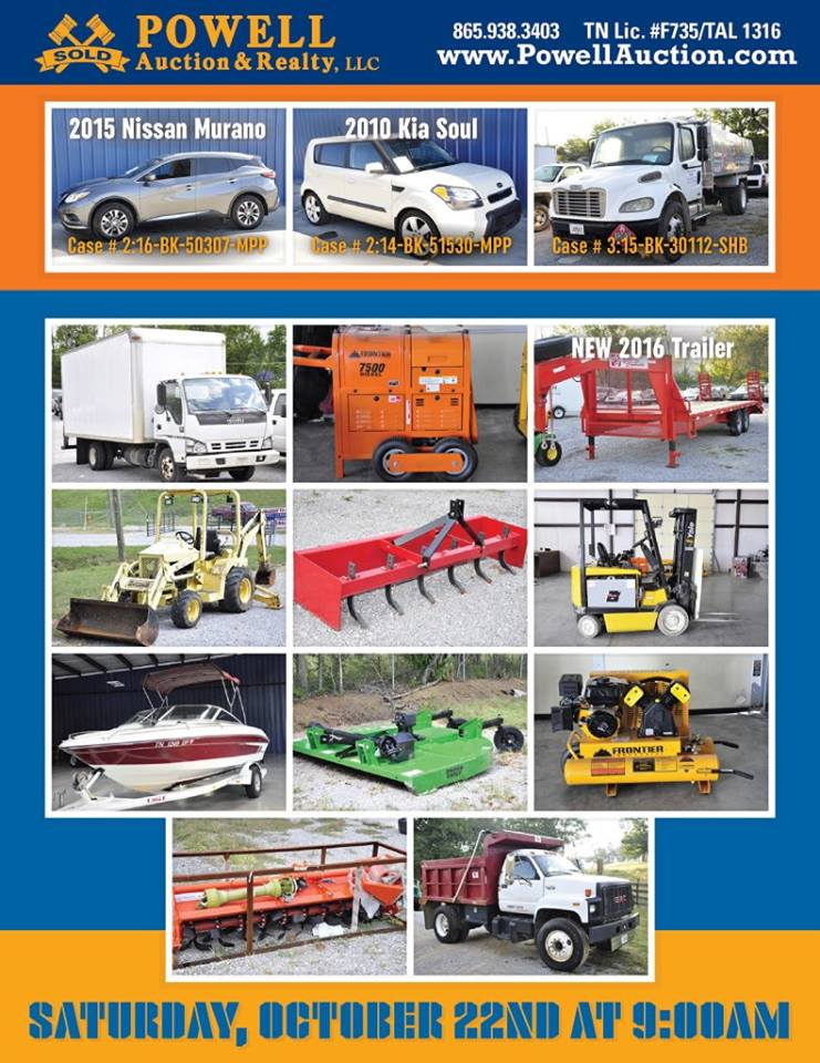 BANKRUPTCY EQUIPMENT, TRUCKS, TRACTORS, CARS AUCTION KNOXVILLE, TN