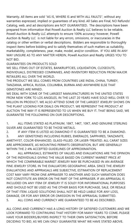 TONY JEWELRY TERMS AND CONDITIONS