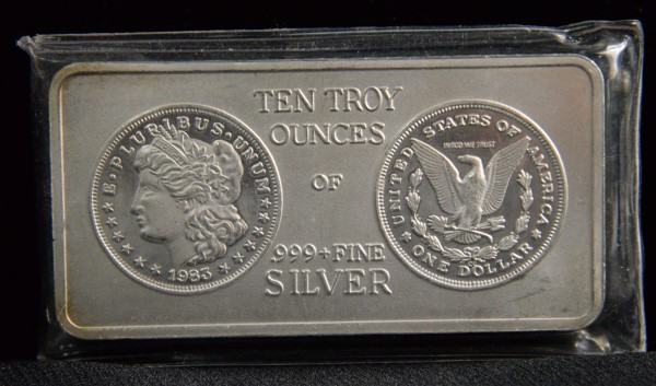 10 oz. silver bar at Powell Auction